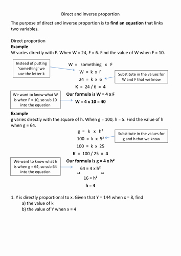 Direct and Inverse Variation Worksheet Elegant Direct and Inverse Proportion Revision by Frazzled22