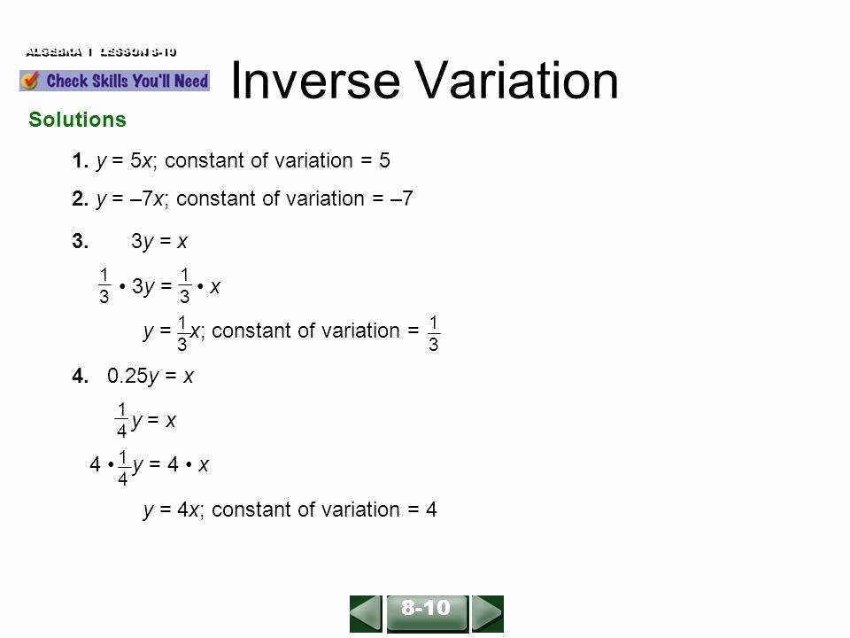 Direct and Inverse Variation Worksheet Elegant Direct and Inverse Variation Worksheet