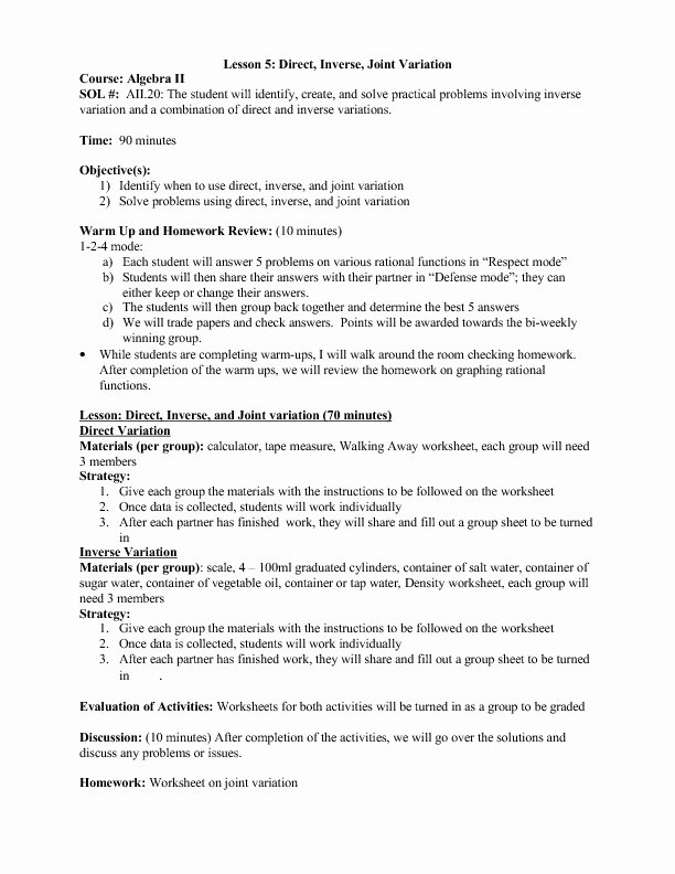 Direct and Inverse Variation Worksheet Inspirational Direct and Inverse Variation Collection