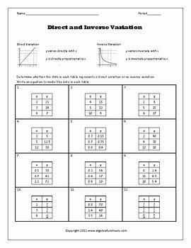 Direct and Inverse Variation Worksheet Inspirational Direct and Inverse Variation Table Of Values Worksheet by