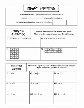 Direct and Inverse Variation Worksheet Lovely Direct and Inverse Variation Notes Homework Activities