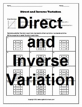 Direct and Inverse Variation Worksheet Unique Direct and Inverse Variatio by Algebra Funsheets