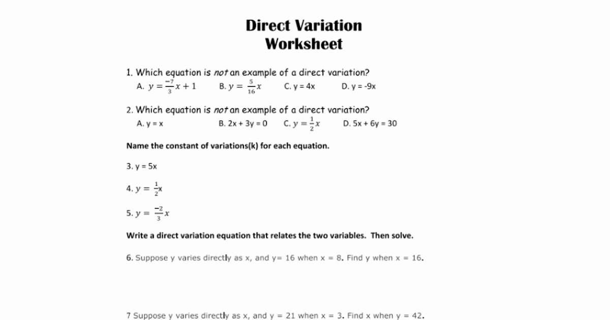 Direct and Inverse Variation Worksheet Unique Direct Variation Worksheet