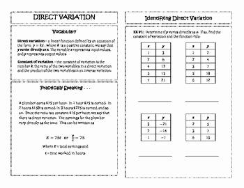 Direct Variation Word Problems Worksheet Best Of Direct Variation Algebra 2 Unit 2