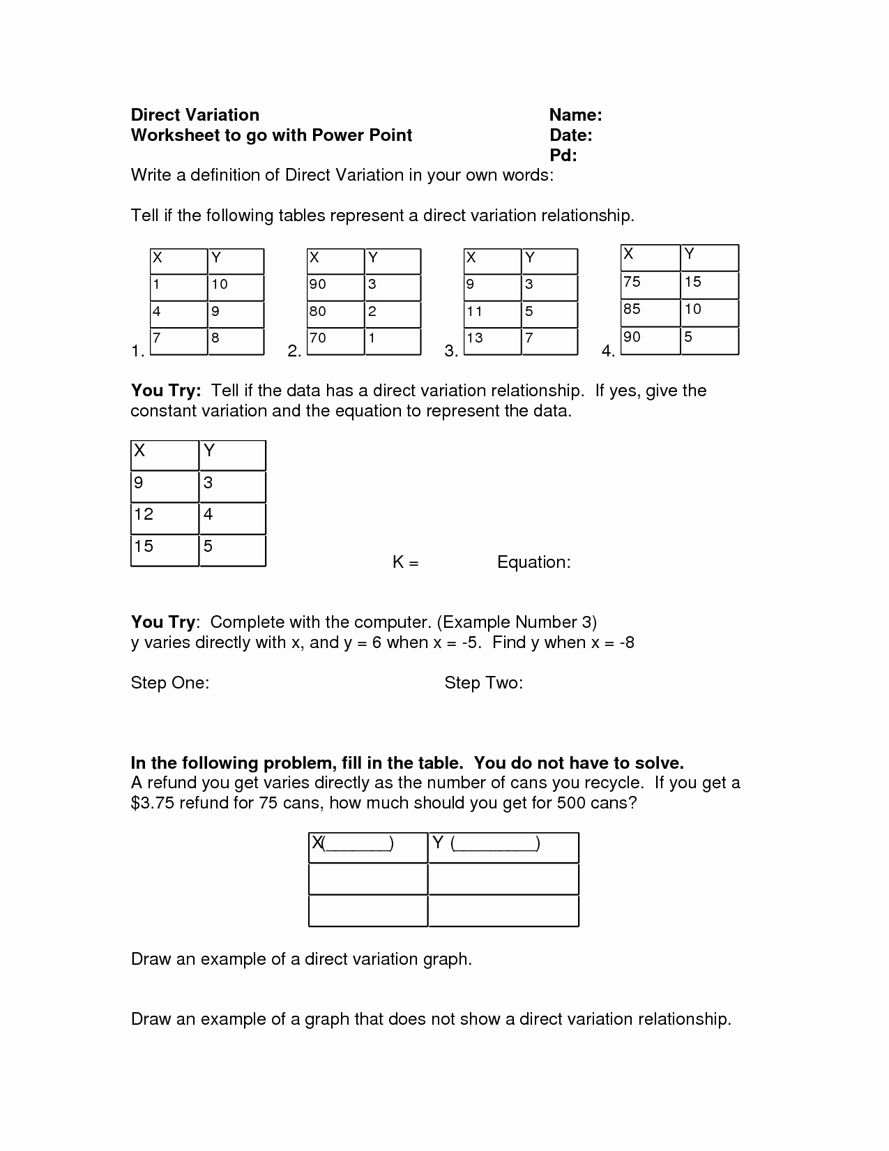Direct Variation Word Problems Worksheet Fresh 14 Best Of Direct Variation Worksheets Printable