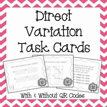 Direct Variation Word Problems Worksheet Inspirational Direct Variation Task Cards