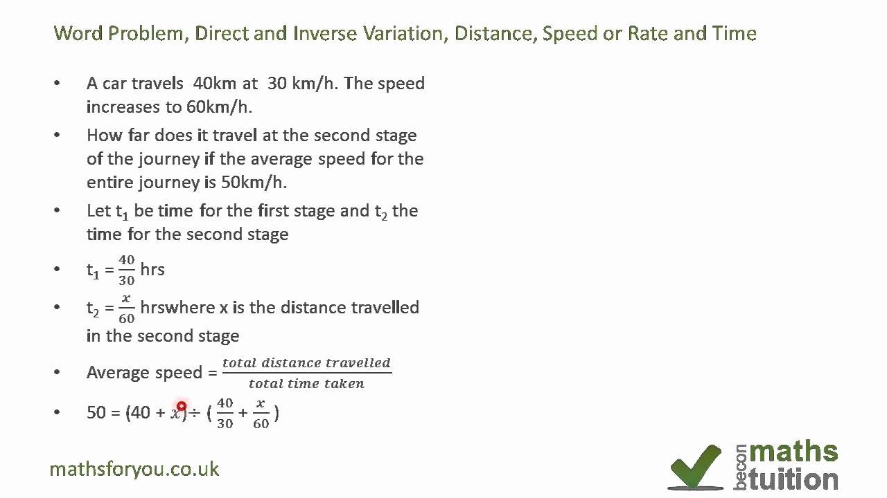 Direct Variation Word Problems Worksheet Unique Word Problem Direct Proportion and Inverse Variation