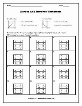 Direct Variation Worksheet Answers Inspirational Direct and Inverse Variation Bundle by Algebra Funsheets