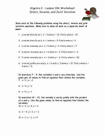 Direct Variation Worksheet Answers Unique Direct Variation Worksheet