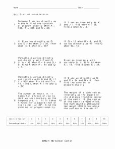 Direct Variation Worksheet with Answers Beautiful Direct and Inverse Variation Worksheet for 9th Grade