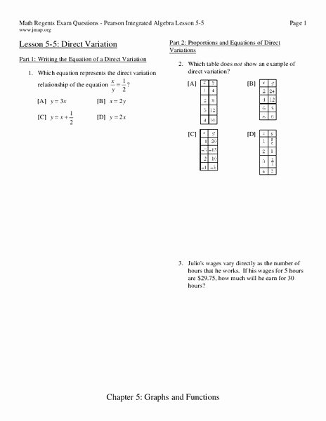 Direct Variation Worksheet with Answers Beautiful Direct Variation Worksheet for 9th 11th Grade