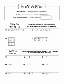 Direct Variation Worksheet with Answers Elegant Direct Variation Notes and Bingo Game by All Things