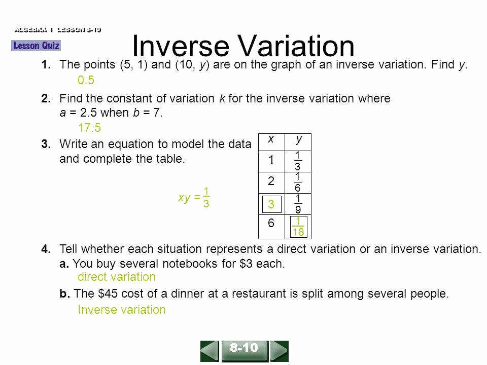 Direct Variation Worksheet with Answers Fresh Direct and Inverse Variation Worksheet