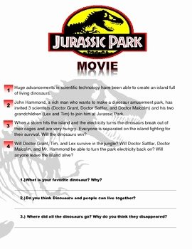 Dirt the Movie Worksheet Elegant Jurassic Park Movie Worksheet by Esl Kidz