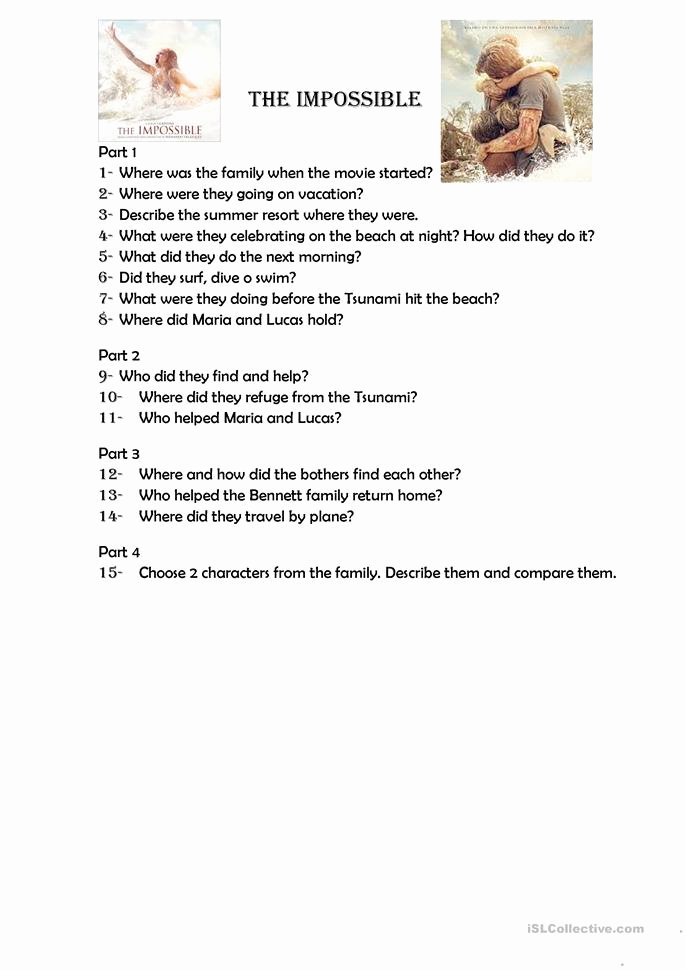 Dirt the Movie Worksheet Fresh the Impossible Movie Worksheet Free Esl Printable