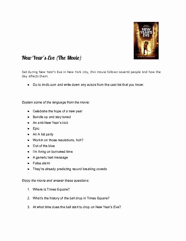 Dirt the Movie Worksheet Luxury Movie Worksheet New Year S Eve