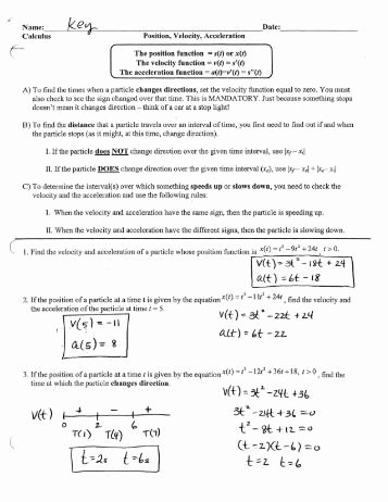 Displacement and Velocity Worksheet Awesome Displacement Velocity and Acceleration Worksheet