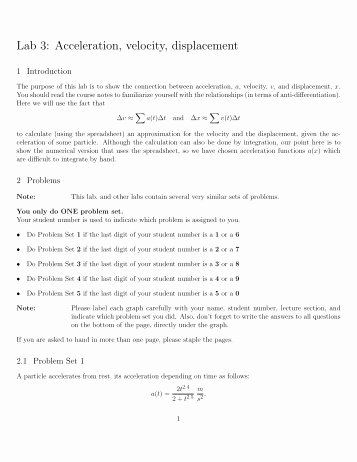 Displacement and Velocity Worksheet Beautiful In Class Worksheet On Displacement and Velocity
