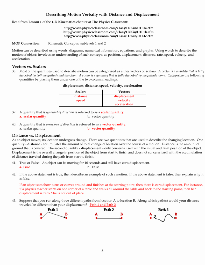 Displacement and Velocity Worksheet Best Of Physics Classroom Worksheets Key Unit 1