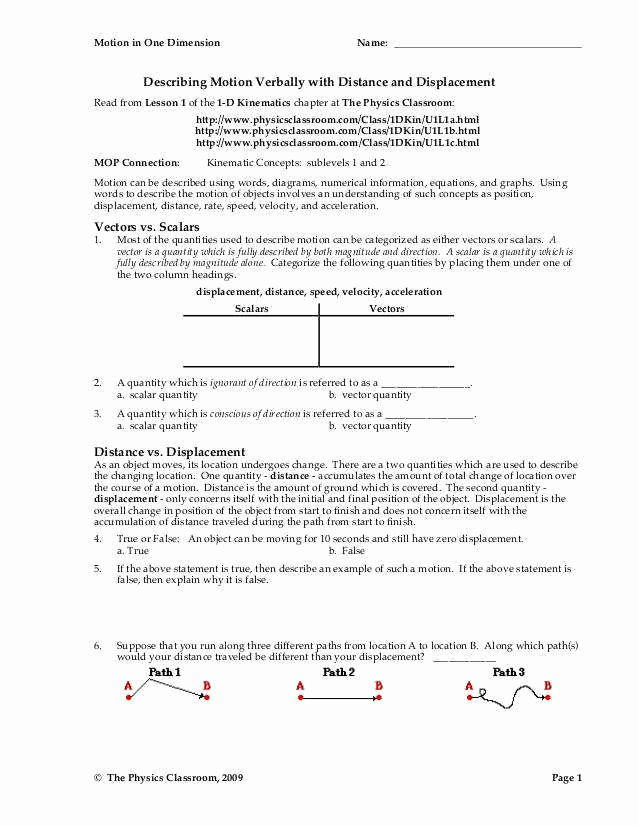 Displacement and Velocity Worksheet Fresh Distance and Displacement Worksheet
