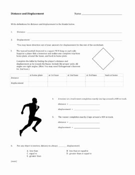 Displacement and Velocity Worksheet Inspirational Distance and Displacement Worksheet by David Baxter