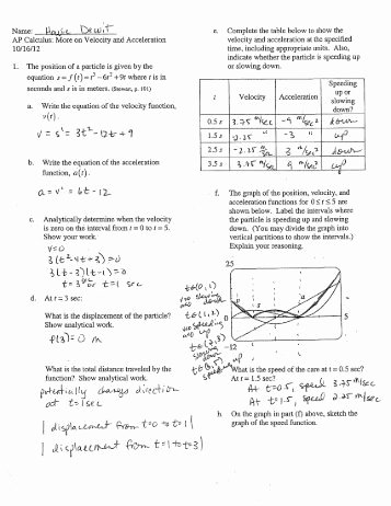 Displacement and Velocity Worksheet New Displacement Velocity & Acceleration Worksheet