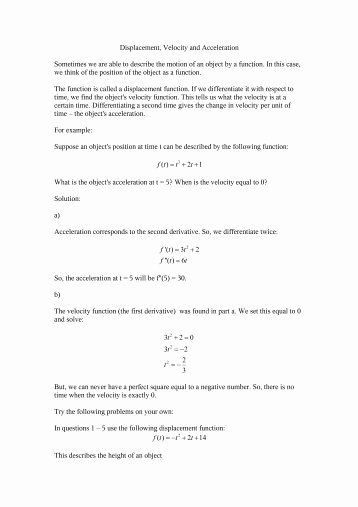 Displacement Velocity and Acceleration Worksheet Inspirational In Class Worksheet On Displacement and Velocity