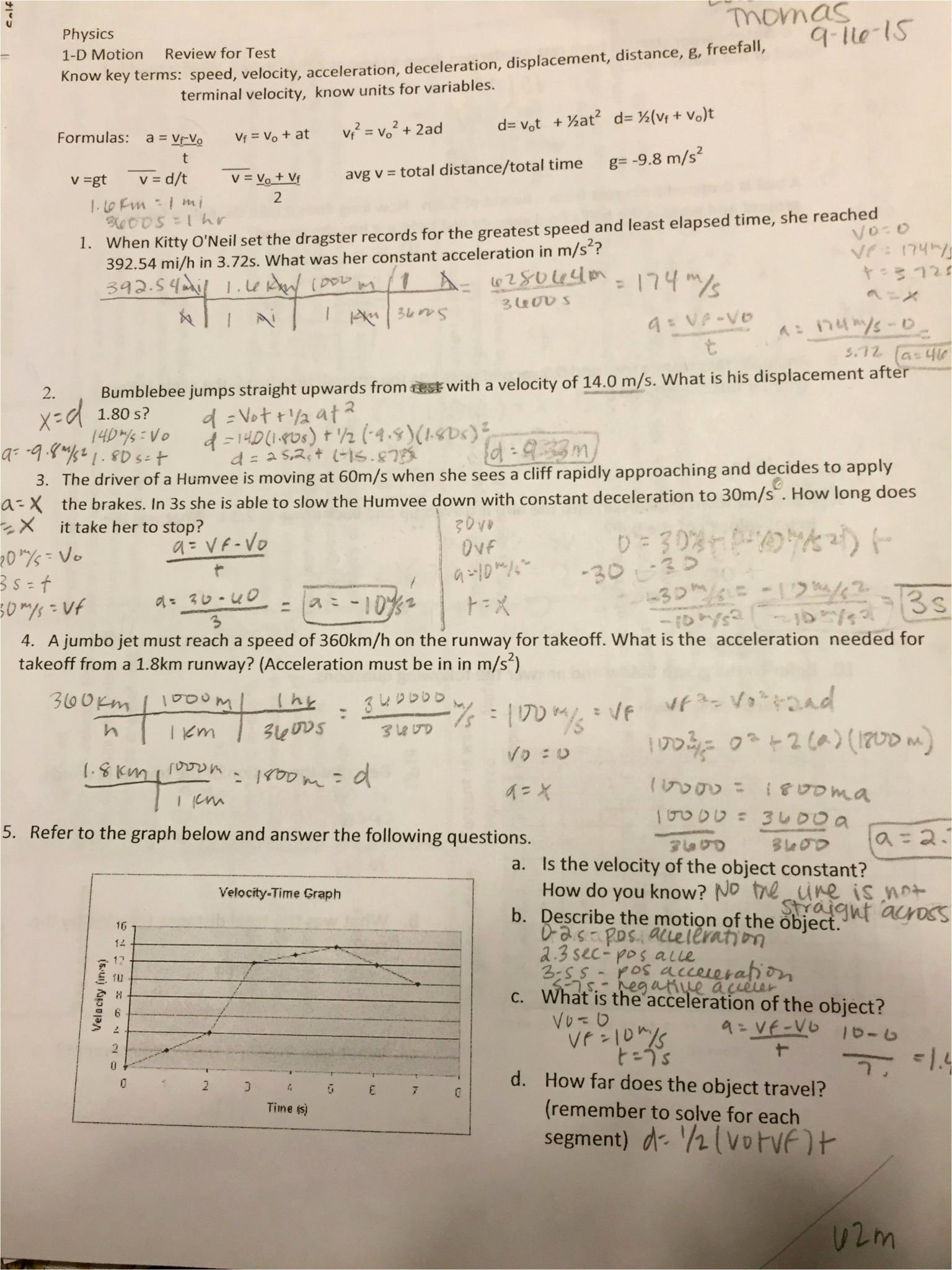 Distance and Displacement Worksheet Answers Beautiful Displacement Velocity and Acceleration Worksheet Answers