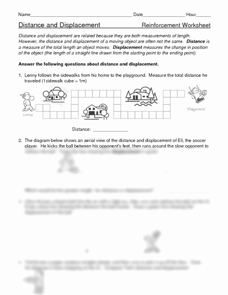 Distance and Displacement Worksheet Answers Fresh Distance Displacement Worksheets