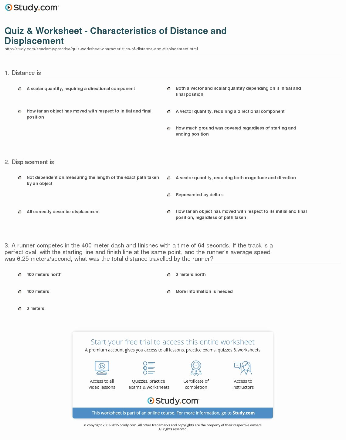 Distance and Displacement Worksheet Answers Luxury Quiz & Worksheet Characteristics Of Distance and