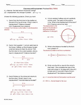 Distance and Displacement Worksheet Answers New Basic Motion Worksheet Pack Distance Displacement Speed
