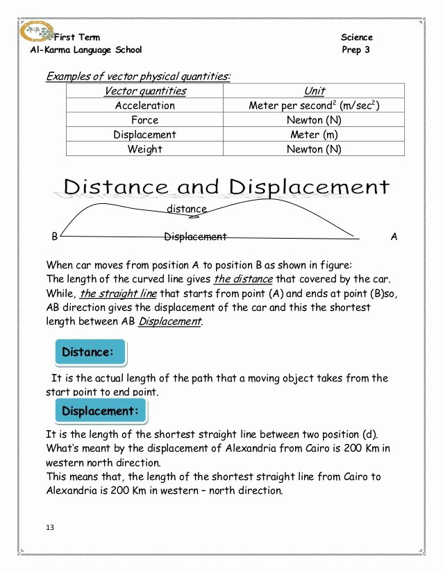 Distance and Displacement Worksheet Answers New Distance and Displacement Practice Worksheet