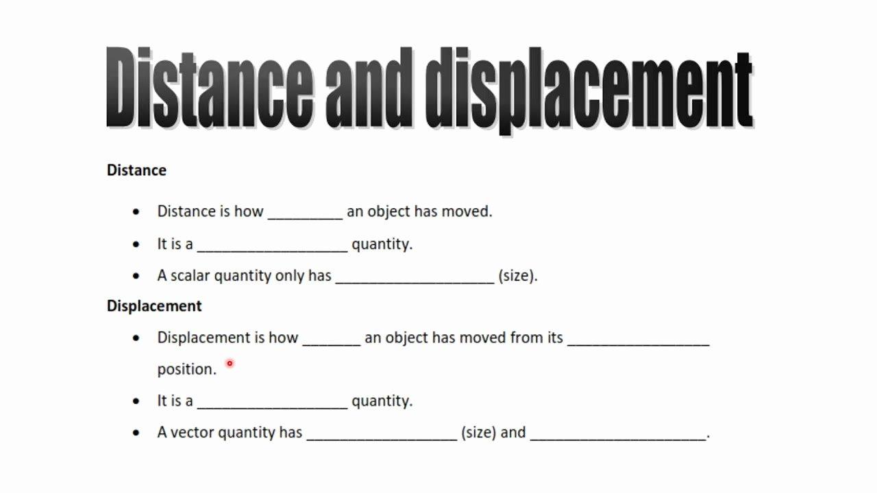 Distance and Displacement Worksheet Elegant Worksheets Displacement and Velocity Worksheet