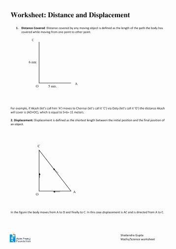 Distance and Displacement Worksheet Inspirational Distance Vs Displacement Worksheet Worksheets Tutsstar