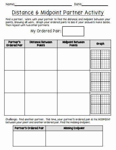 Distance and Midpoint formula Worksheet Fresh Midpoint formula Worksheet