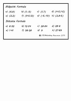 Distance and Midpoint formula Worksheet Luxury Midpoint formula and Distance formula Directed Math