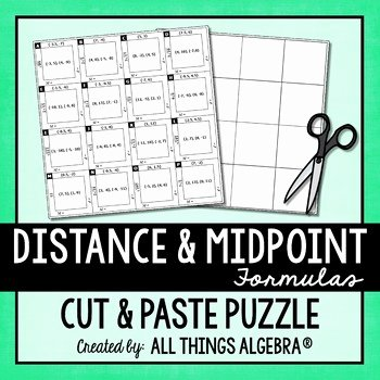 Distance and Midpoint formula Worksheet New Distance formula and Midpoint formula Puzzle by All Things