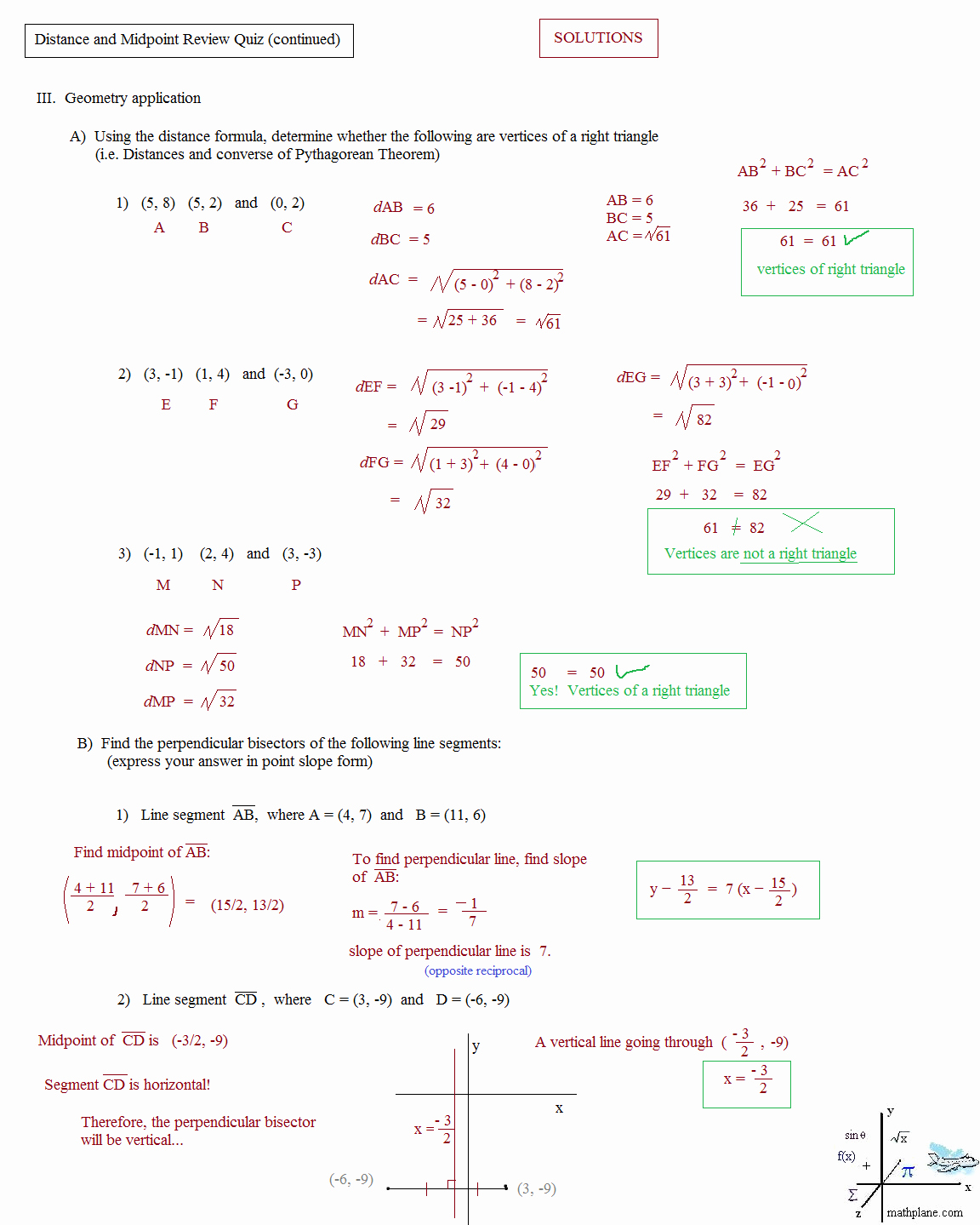 Distance and Midpoint formula Worksheet New Math Plane Midpoint and Distance