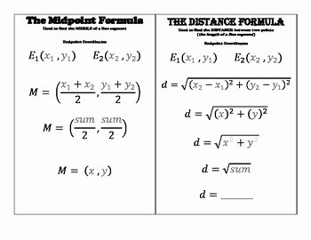 Distance and Midpoint formula Worksheet Unique Midpoint formula Distance formula & Pythagorean theorem