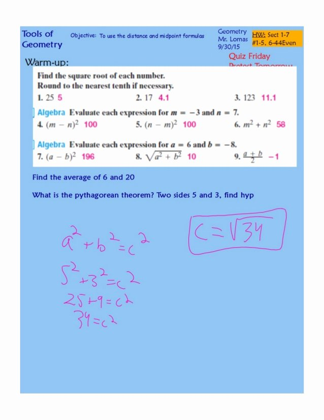 Distance and Midpoint Worksheet Answers Elegant Distance and Midpoint formulas Pdf