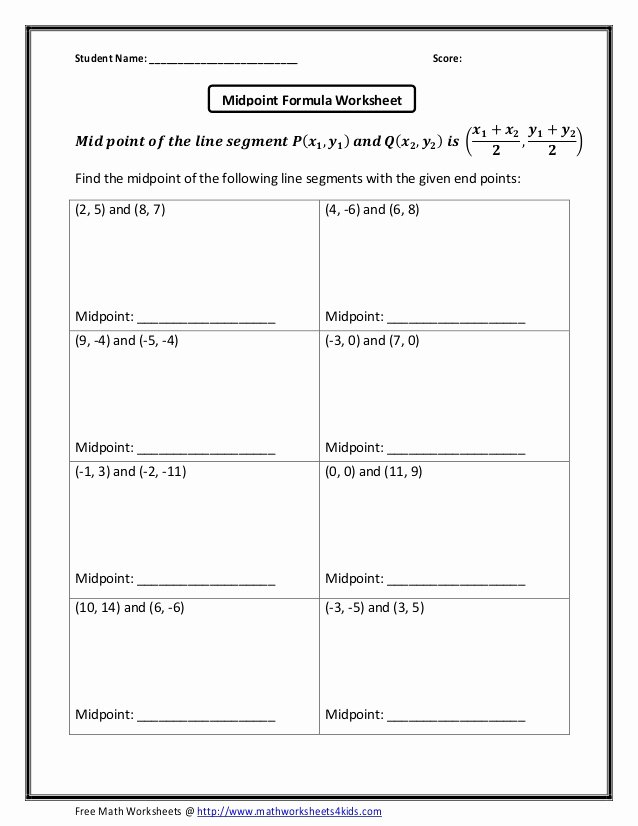 Distance and Midpoint Worksheet Answers Elegant Midpoint formula