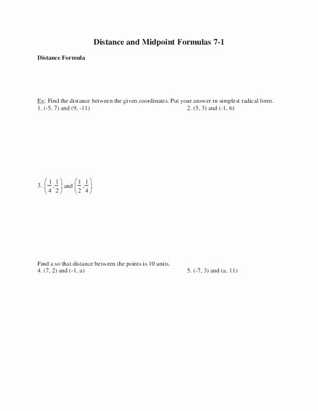 Distance and Midpoint Worksheet Answers Fresh Distance and Midpoint formulas Worksheet for 9th Grade