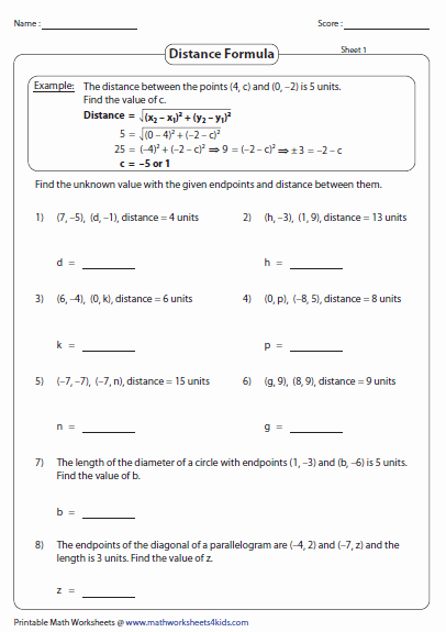 Distance and Midpoint Worksheet Answers Fresh Distance formula Worksheets