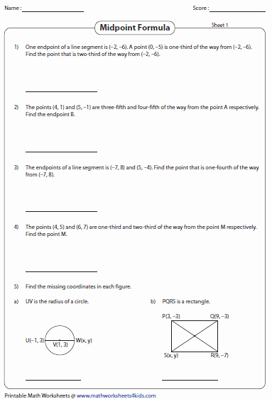 Distance and Midpoint Worksheet Answers Lovely Midpoint formula Worksheets