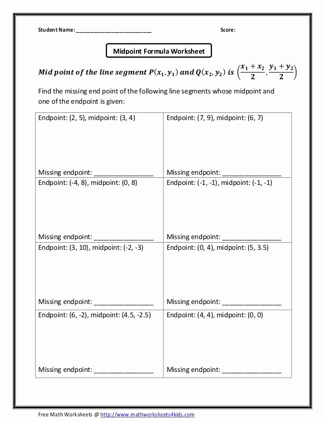 Distance and Midpoint Worksheet Answers Luxury Midpoint formula Missing Endpoint