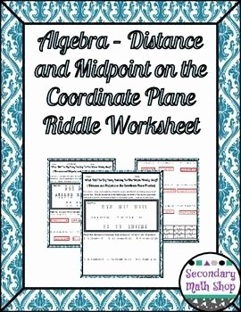 Distance and Midpoint Worksheet Answers Unique Distance and Midpoint formula Practice Riddle Worksheet