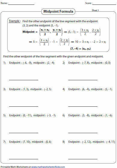 Distance and Midpoint Worksheet Best Of Midpoint formula Worksheets