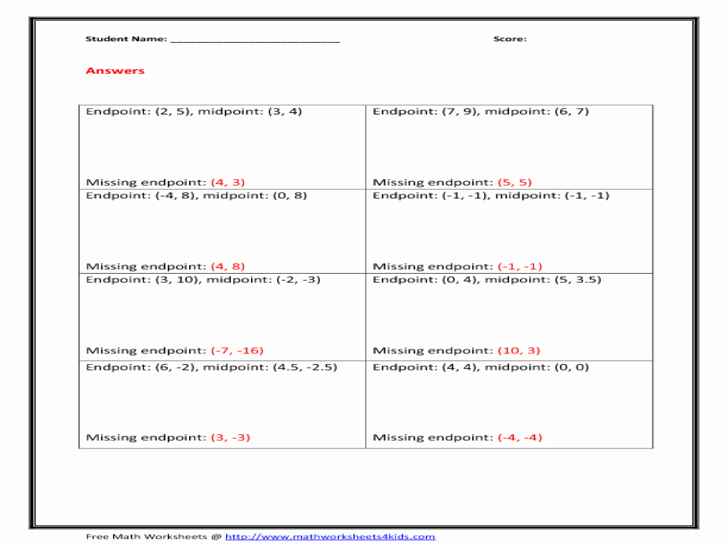 Distance and Midpoint Worksheet Best Of Worksheet Midpoint and Distance formula Worksheet Grass