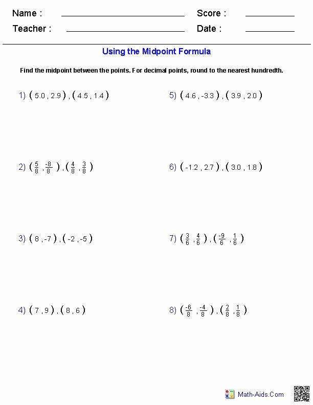Distance and Midpoint Worksheet Elegant Midpoint formula Worksheet