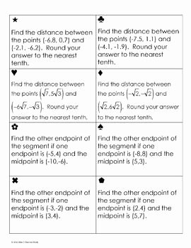 Distance and Midpoint Worksheet Fresh Distance and Midpoint formula Sum Em Activity